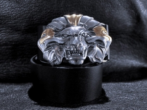 Авторский кожаный ремень Золотой Лев