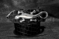 Ремень из кожи авторский Серебряная Саламандра