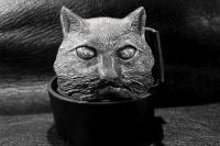 Ремень из кожи авторский Сметанный Кот