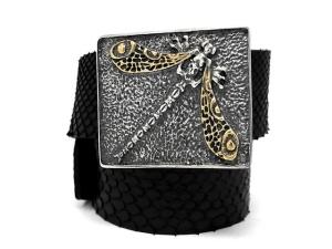 Кожаный ремень с серебряной пряжкой Стрекоза