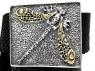 Кожаный ремень с серебряной пряжкой Стрекоза фото 1