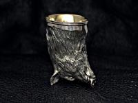 Стопка из серебра с позолотой Кабан