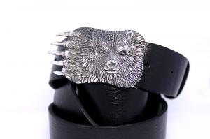 Ремень из кожи авторский Русский Медведь