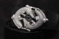 Ремень из кожи с серебряной пряжкой Классик Кроко