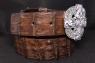 Ремень с серебряной пряжкой и кожей крокодила Руны винтаж фото 1