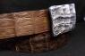 Ремень с серебряной пряжкой и кожей крокодила Риччи люкс фото 3