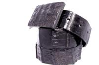 Кожаный ремень из крокодила Гэвиал Блэк