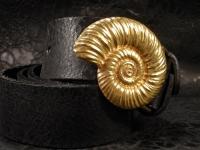 Ремень из кожи авторский золотая Ракушка